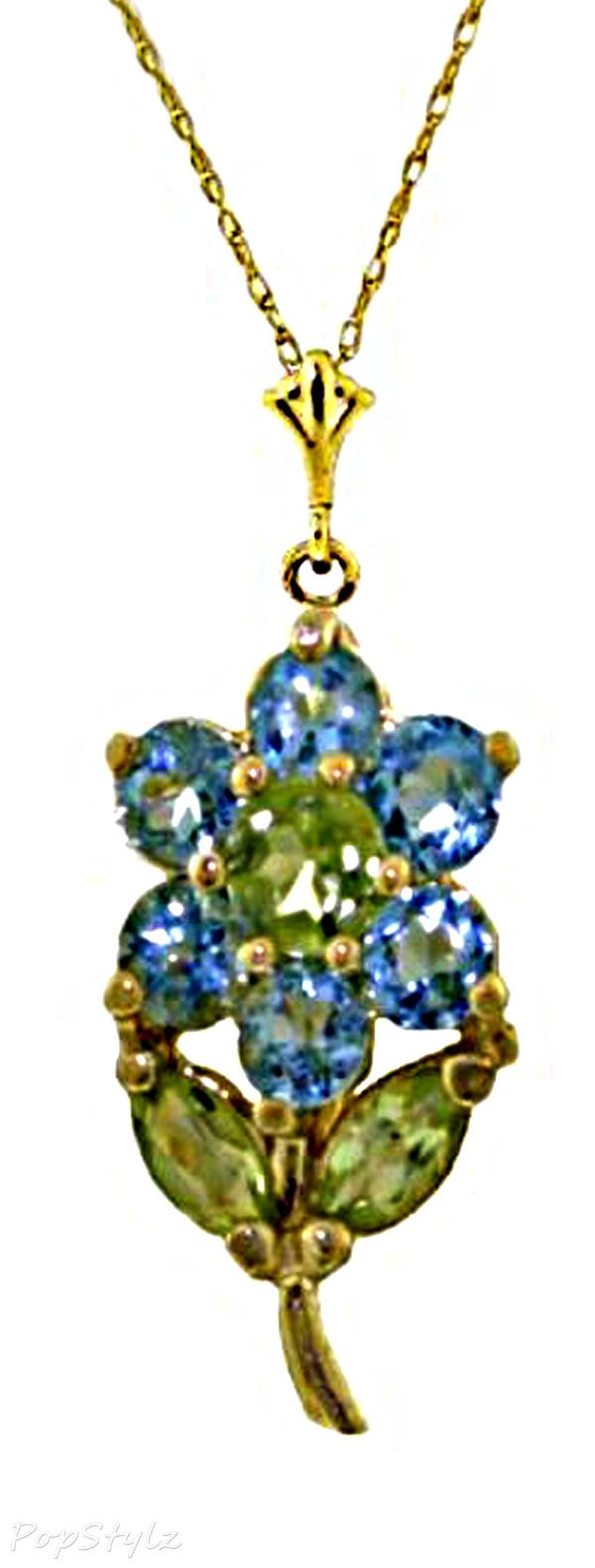 14k Gold Genuine Topaz & Peridots Flower Necklace