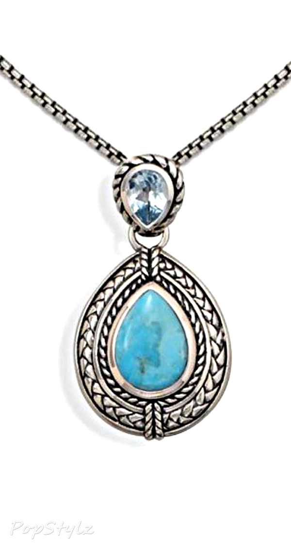 Genuine-Blue Topaz & Turquoise Sterling Silver Necklace