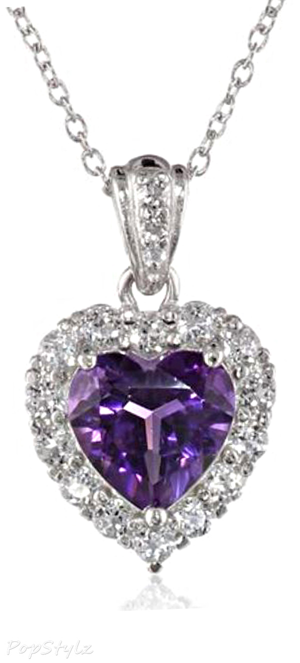 Silver Amethyst & Topaz Heart Necklace