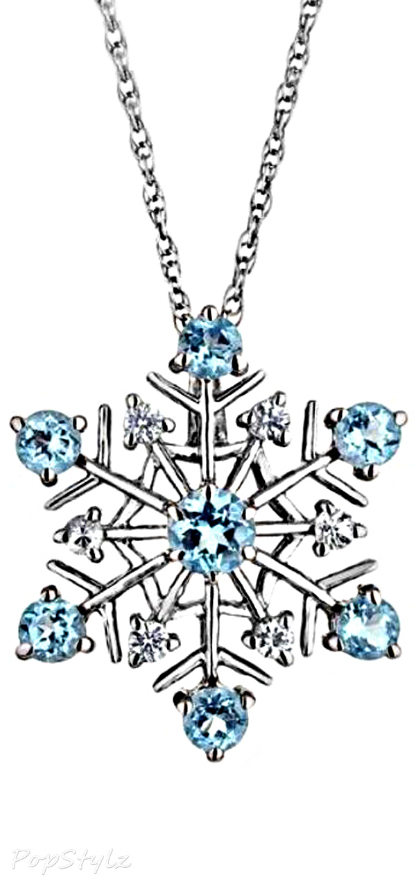 Swiss Blue Topaz & White Sapphire Snowflake Necklace