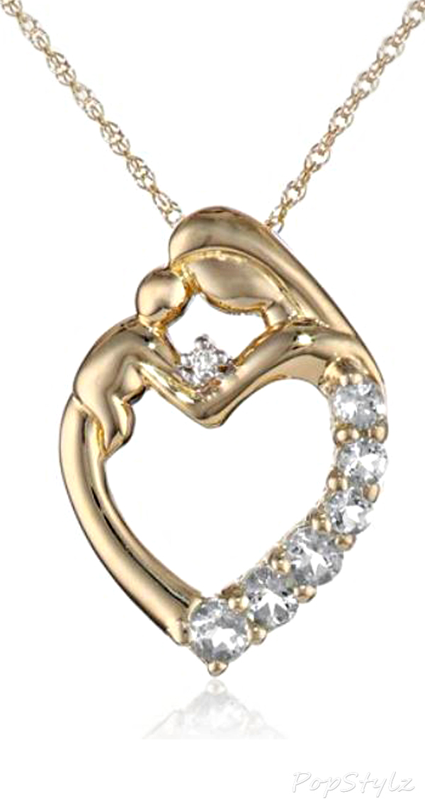 XPY Mother & Child Aquamarine Heart Necklace