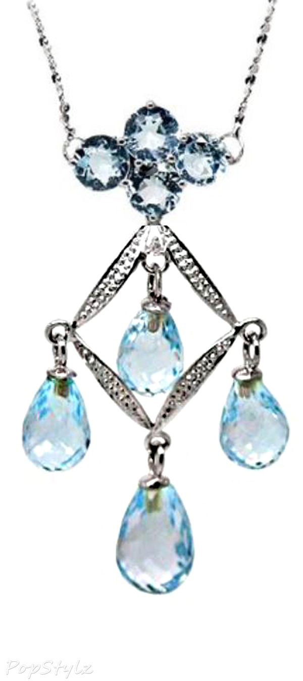 White Gold Genuine Blue Topaz and Diamond Necklace