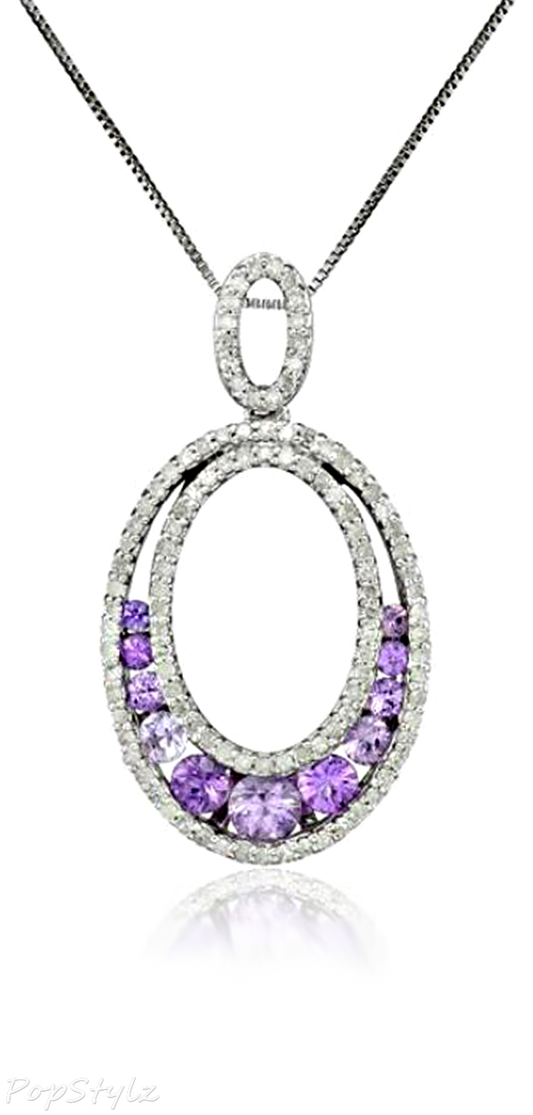 White Gold Purple Sapphire & Diamond Necklace