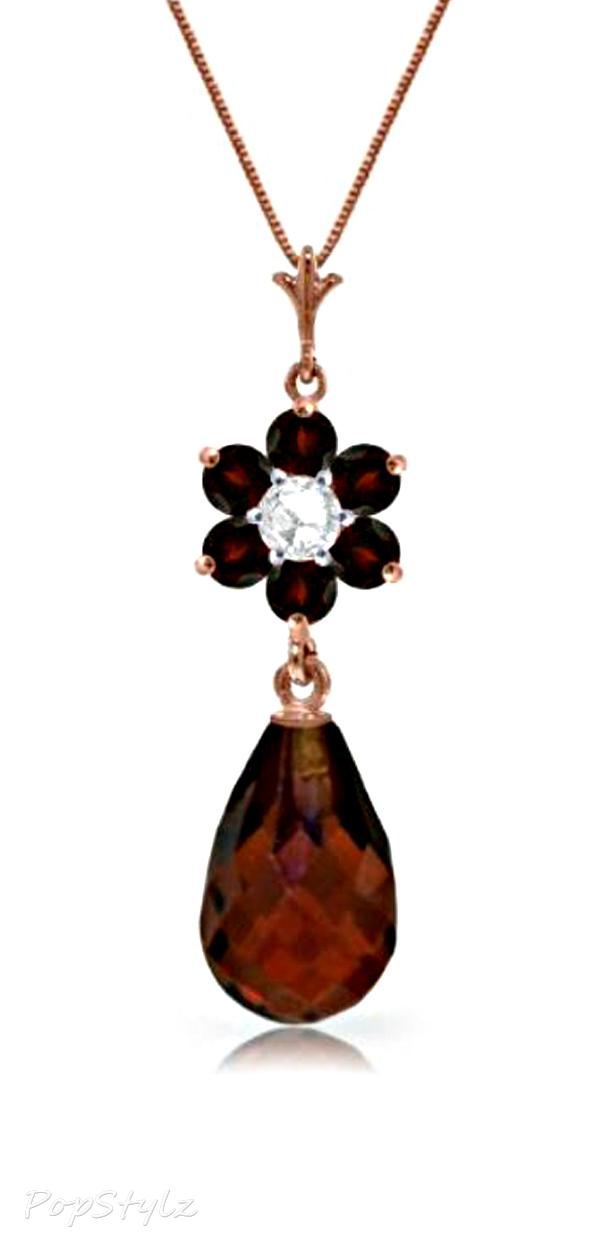14K Gold Genuine Diamond & Garnet Necklace