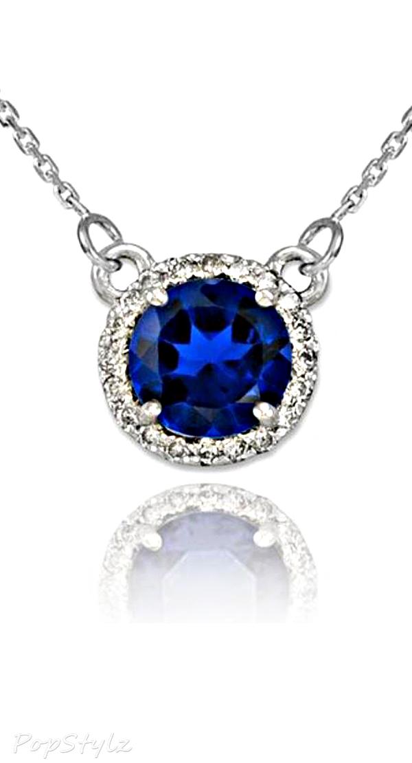 White Gold Natural Sapphire Diamond Necklace