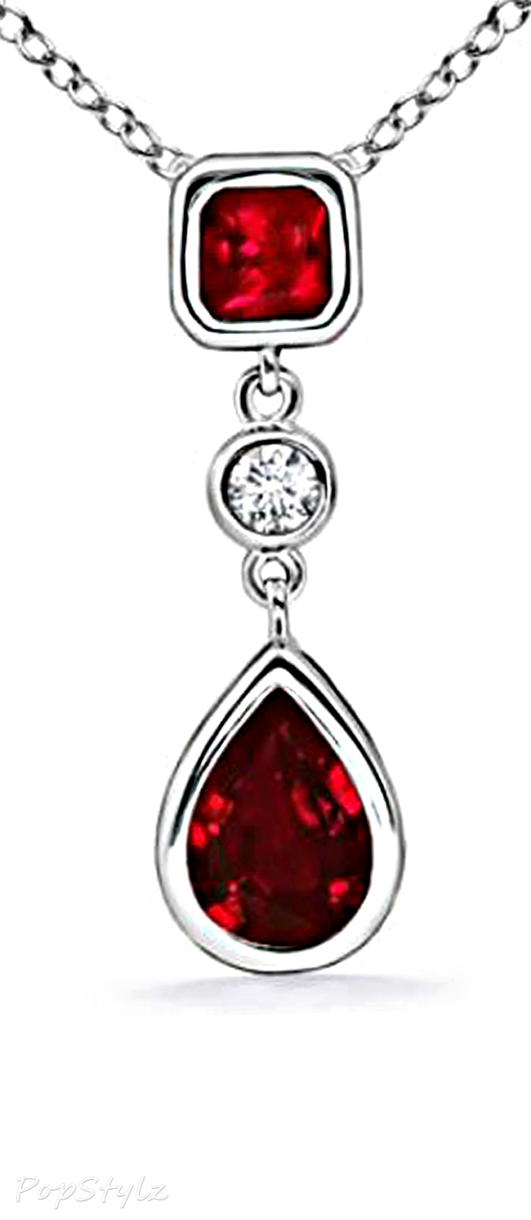 AAAA Quality Heirloom Pear Ruby & Diamond Necklace
