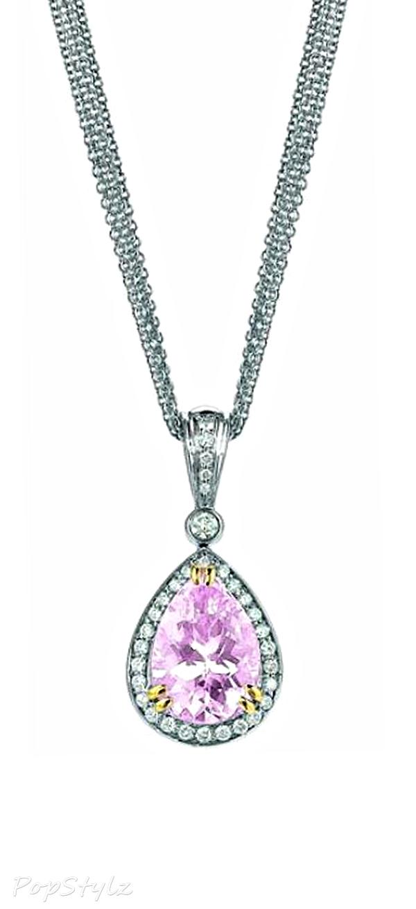 Charles Krypell White Gold Morganite & Diamond Necklace