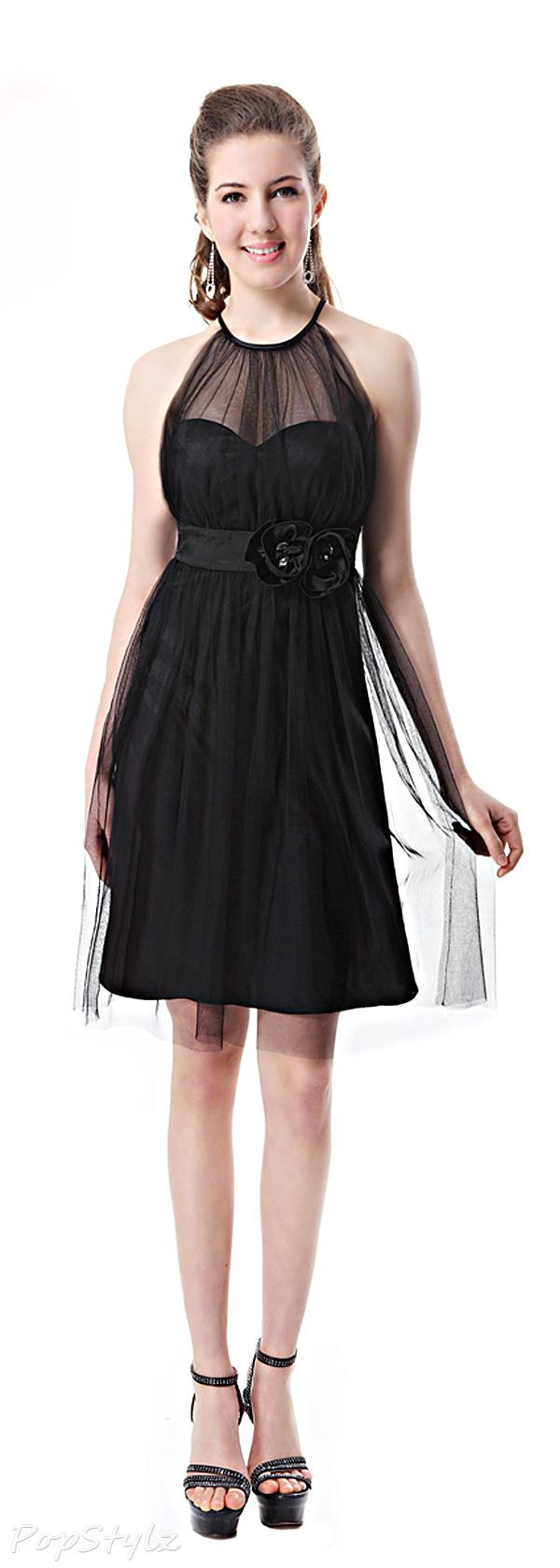 Ever Pretty 03760 Charming Sheer Little Black Dress