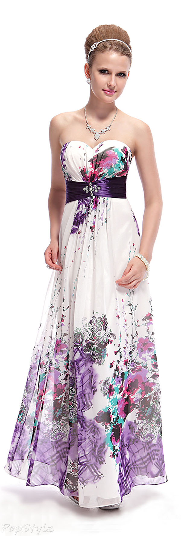 Ever Pretty 08043 Strapless Floral Dress