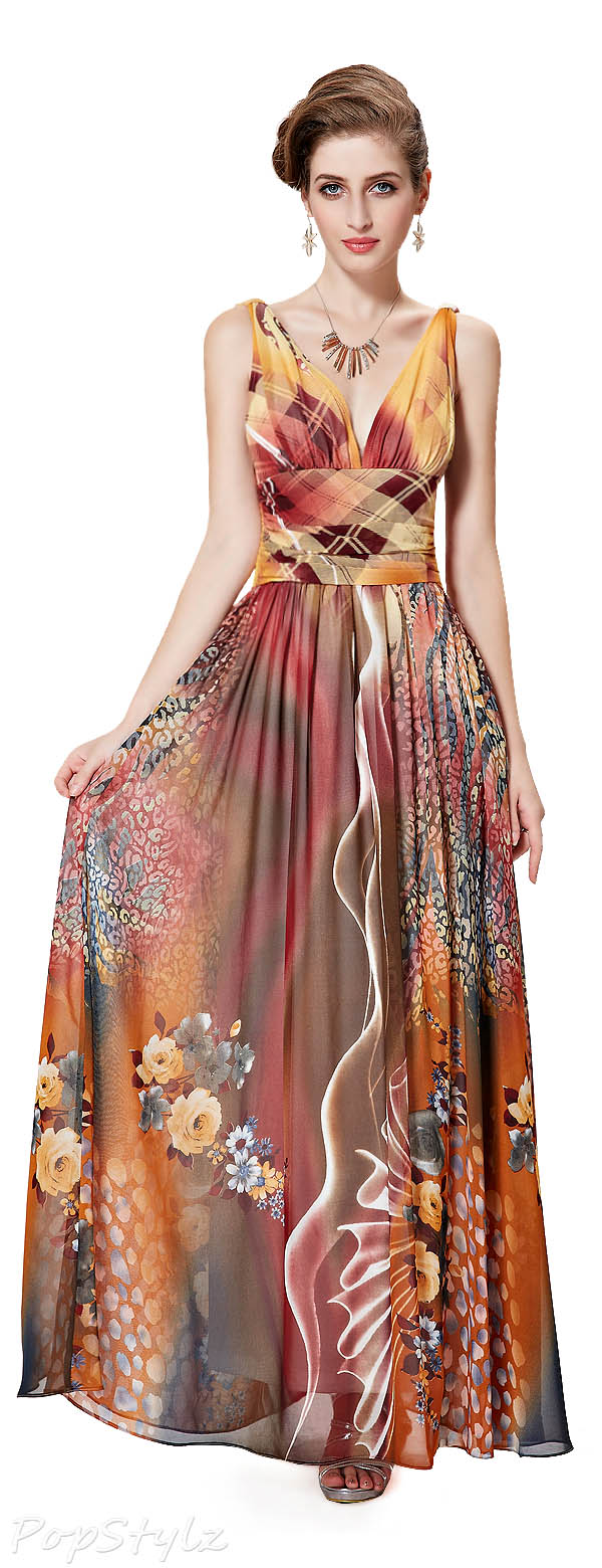 Ever Pretty Double V-Neck Printed Chiffon Dress