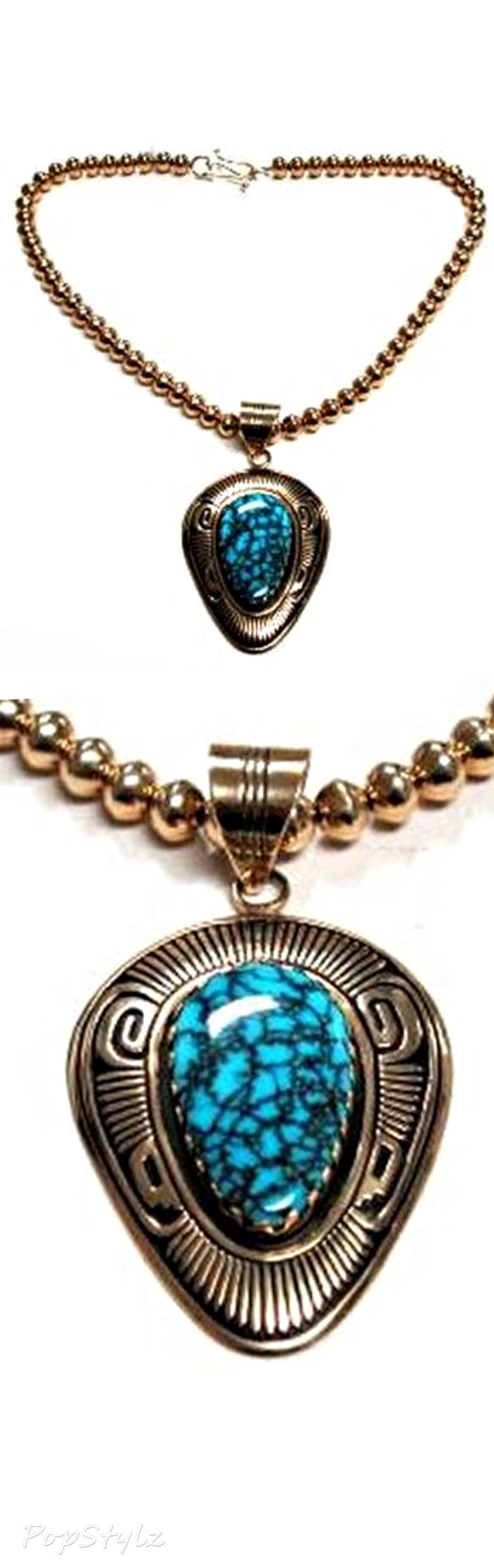 Steven J Begay, Number 8 Turquoise Gold Necklace