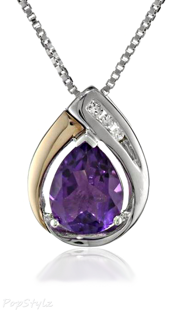 XPY Silver/Gold Amethyst Pendant Necklace