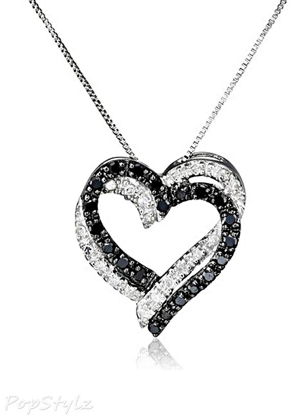 White Gold Double Heart Diamond Necklace