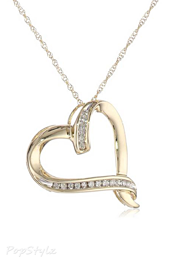 Gold Diamond Abstract Heart Pendant Necklace