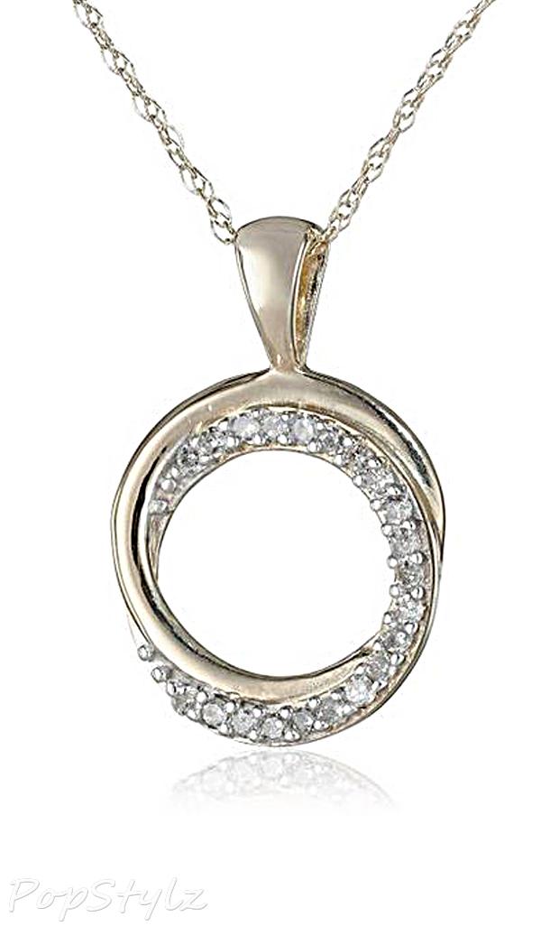Yellow Gold Diamond Circle Pendant Necklace