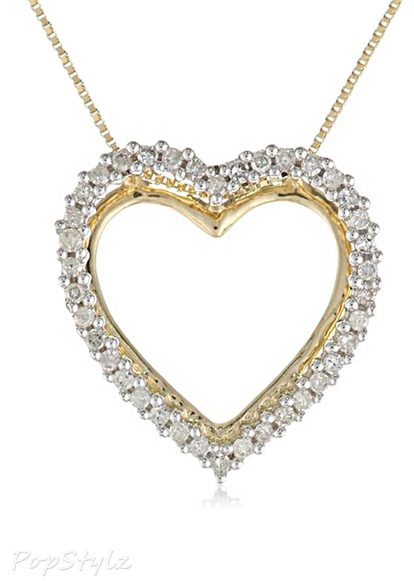 Yellow Gold Diamond Heart Pendant Necklace