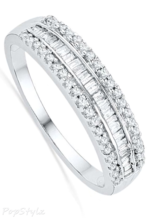 White Gold Baguette and Round Diamond Anniversary Ring