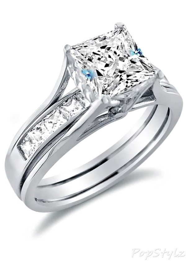 14k White Gold Bridal Wedding Ring Set