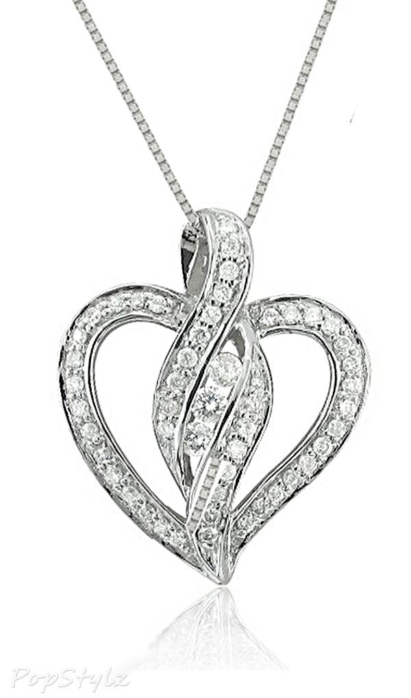 14k White Gold Heart Diamond Pendant Necklace