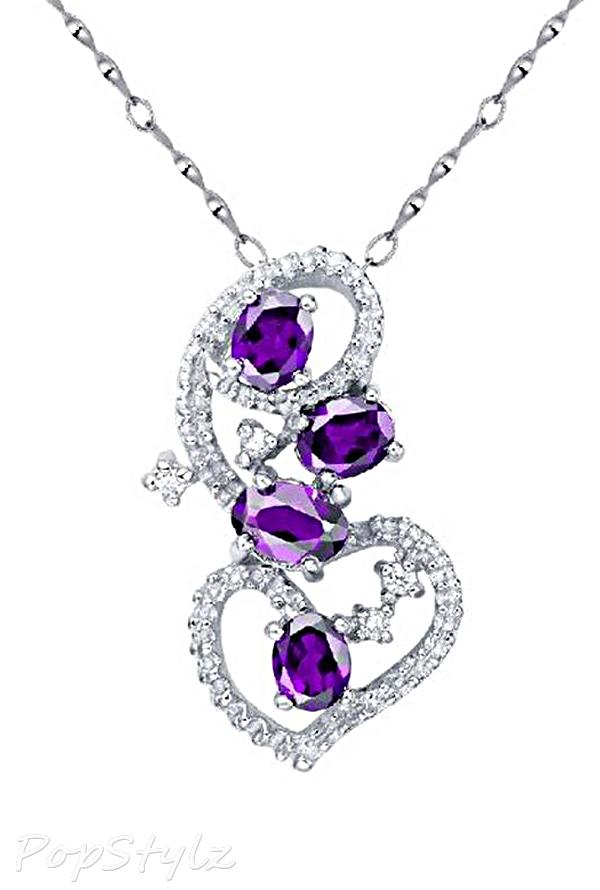 18K White Gold Genuine Amethyst Necklace
