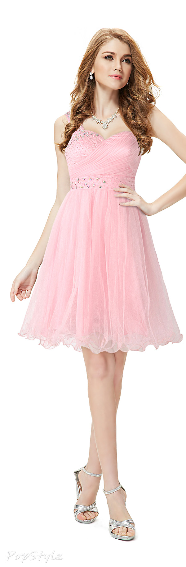 Ever Pretty 05032 Pink Short Rhinestones Dress