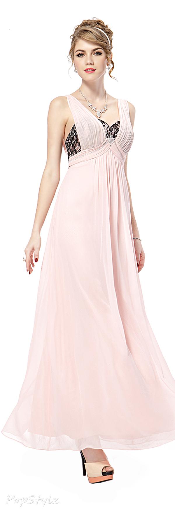 Ever Pretty 08031 Pink Chiffon Rhinestones Dress