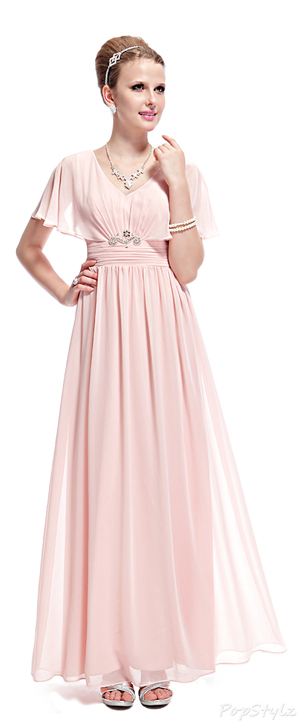 Ever Pretty 08096 Elegant ruched waist rhinestone accented maxi dress