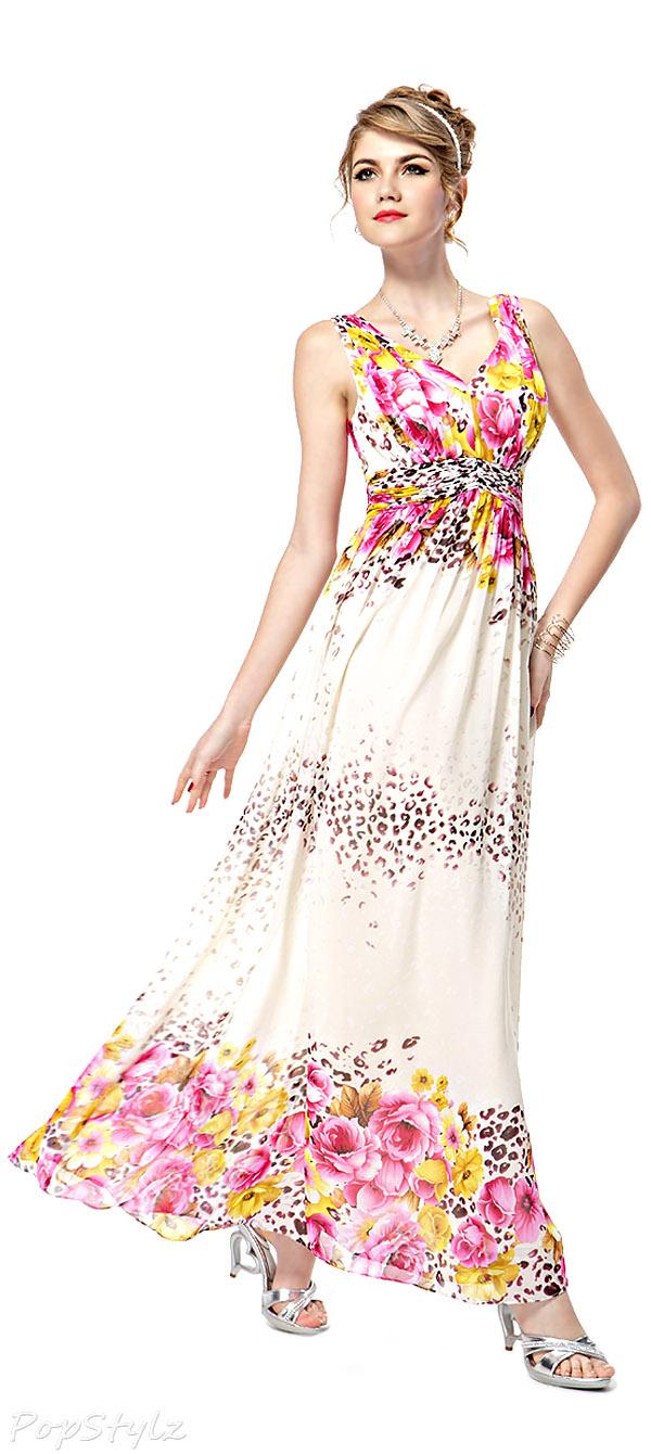 Ever Pretty 08126 Floral Printed Chiffon Maxi Dress