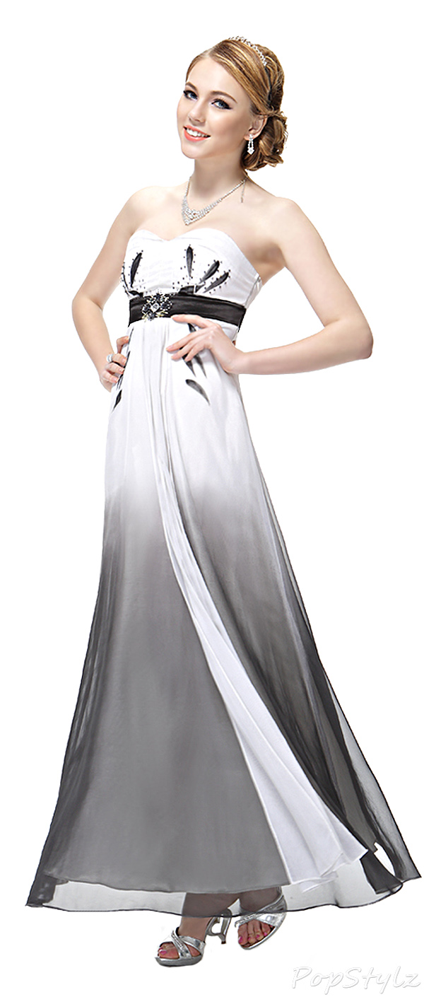 Ever Pretty 09512 Black & White Ombre Chiffon Dress