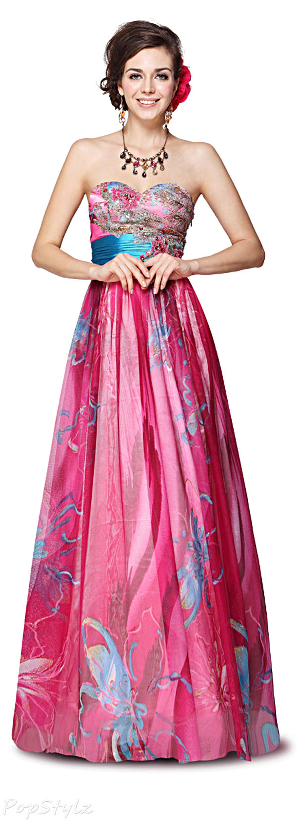 Ever Pretty 09820 Floral Long Strapless Evening Dress