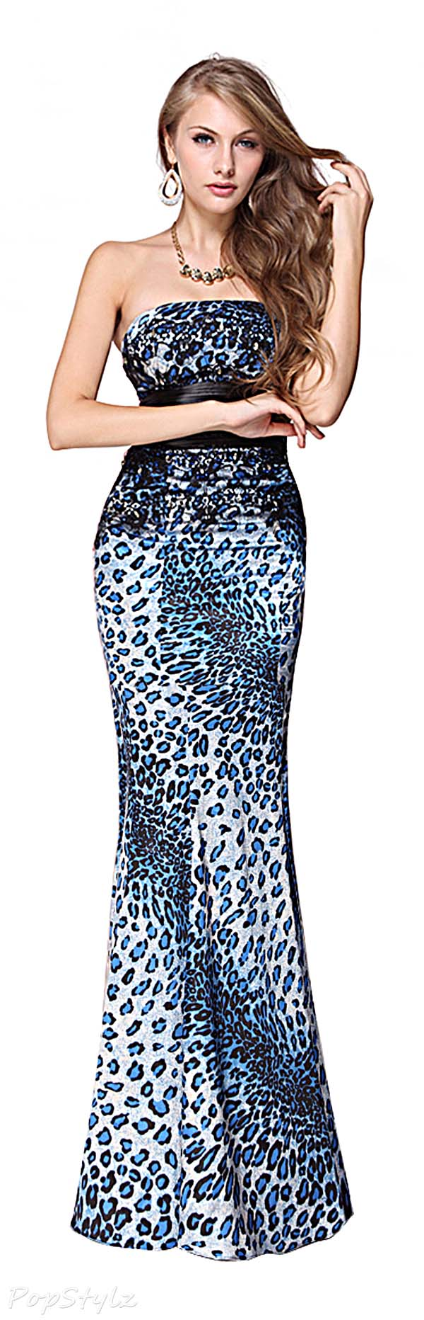 Ever Pretty 09832 Animal Printed Satin Strapless Fishtail Long Dress