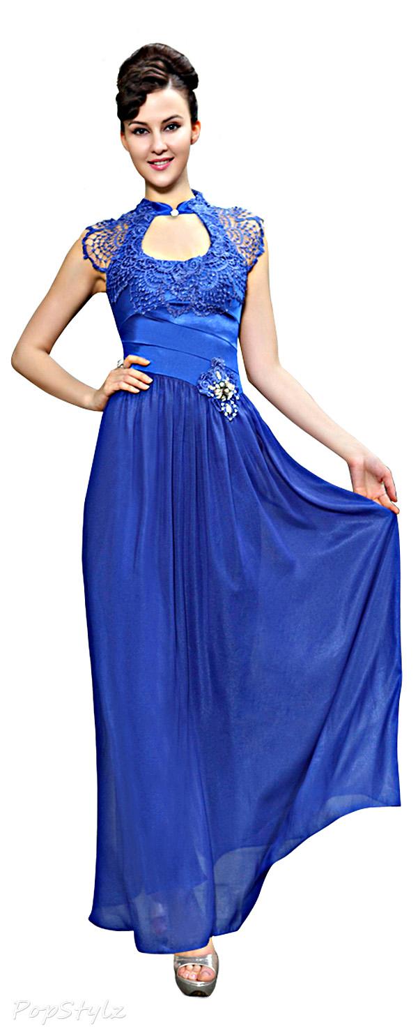 Ever Pretty 09948 Mandarin Neckline Retro Lace Evening Dress