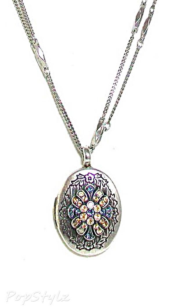 "Mariana ""Moon Drops"" Locket Necklace with Swarovski Crystals"