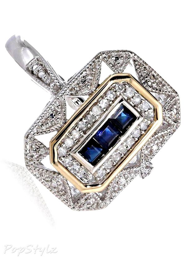 Blue Sapphire & Diamond-Accent Art Deco-Style Ring