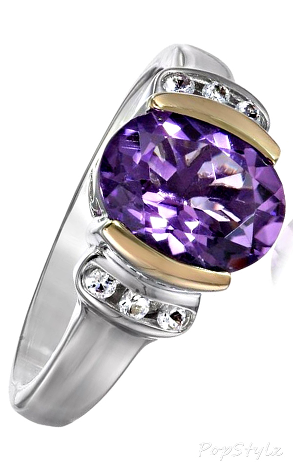 Sterling Silver, 14k Yellow Gold, White Topaz, & Amethyst Ring