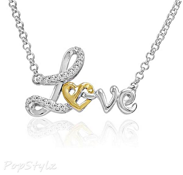 Sterling Silver & 14K Gold Heart in Love Diamond Necklace