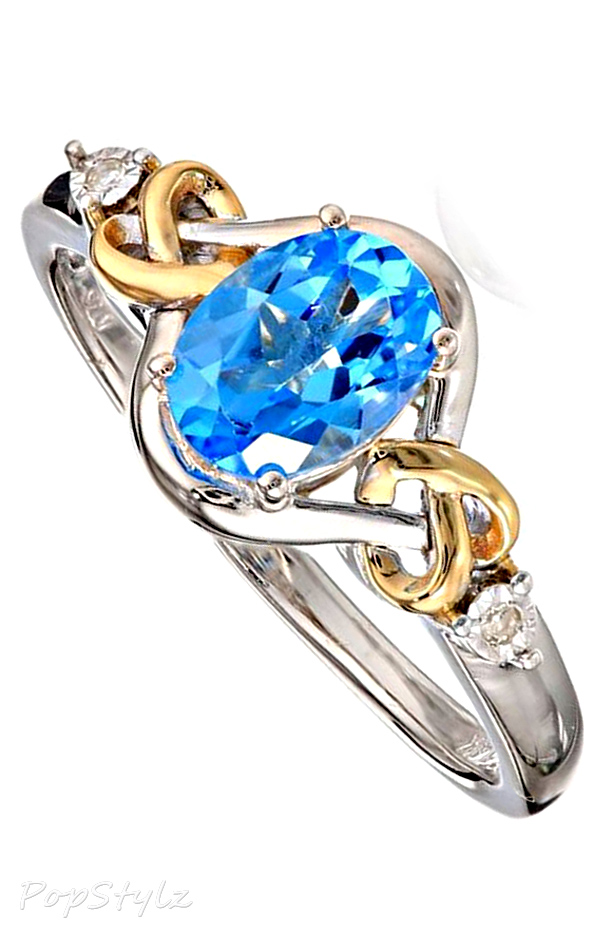 Sterling Silver & 14k Yellow Gold Diamond, Swiss Blue Topaz Love Knot Ring