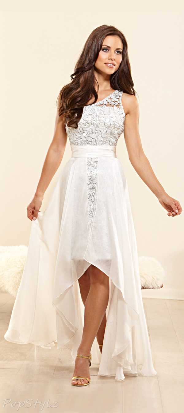Terani Couture P3149 Lace Bodice High Low Dress