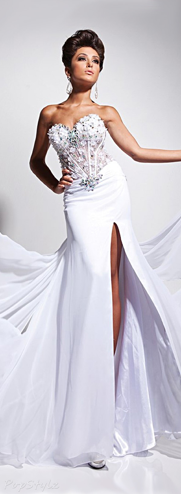 Tony Bowls TB113538 Strapless Long Flowing Evening Gown