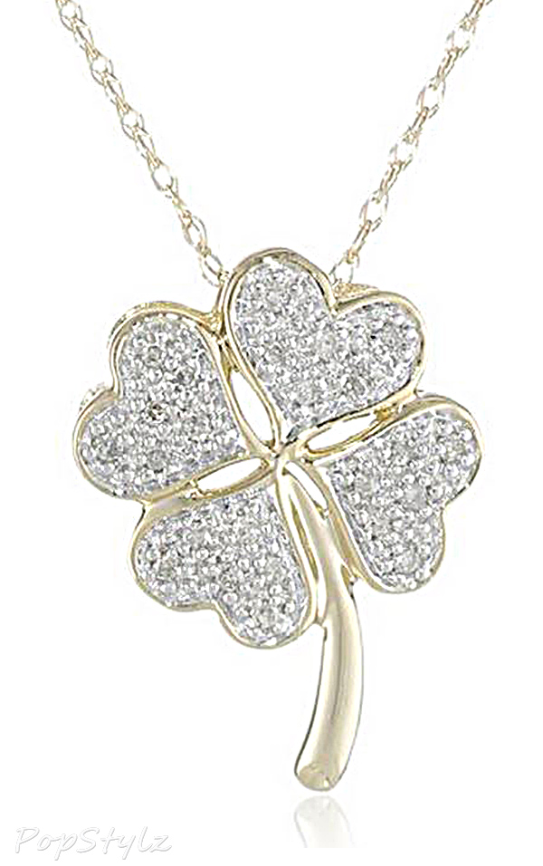 XPY Gold Diamond Four Leaf Clover Pendant Necklace