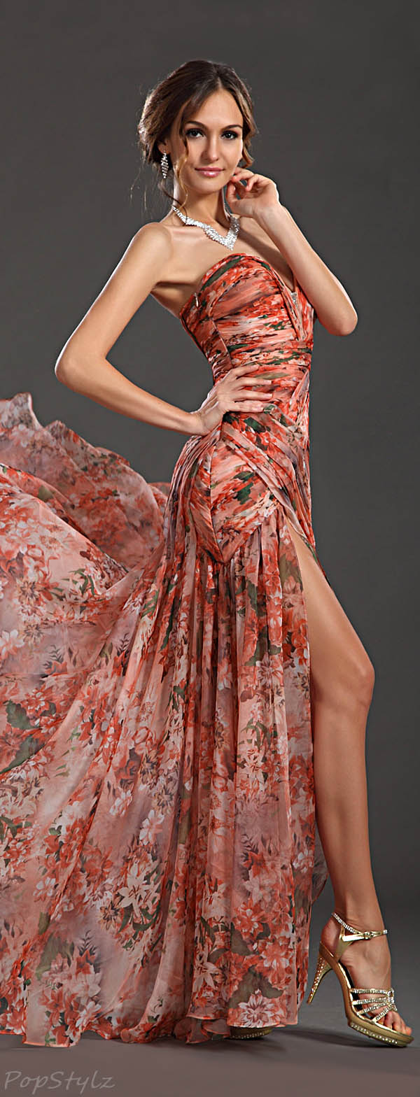 eDressit 00120568 Floral Strapless Evening Gown