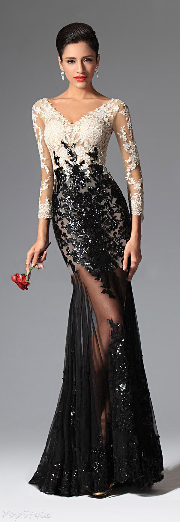 eDressit 02149100 Sequin Tulle & Lace Sleeves Evening Gown