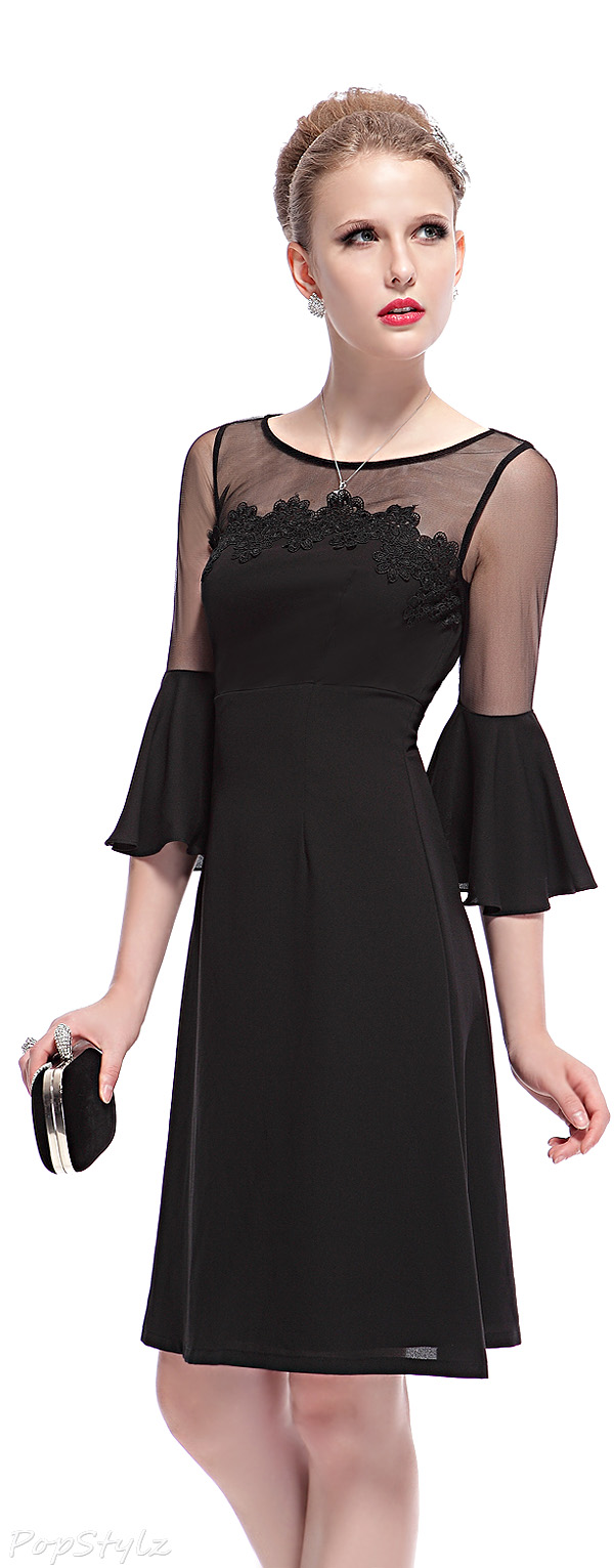 Ever Pretty 03959 Trumpet Sleeves Lacey Little Black Dress