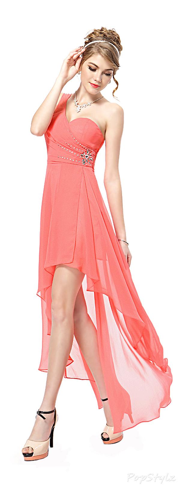 Ever Pretty 08100 Rhinestones Hi-Lo Coral Chiffon Party Dress