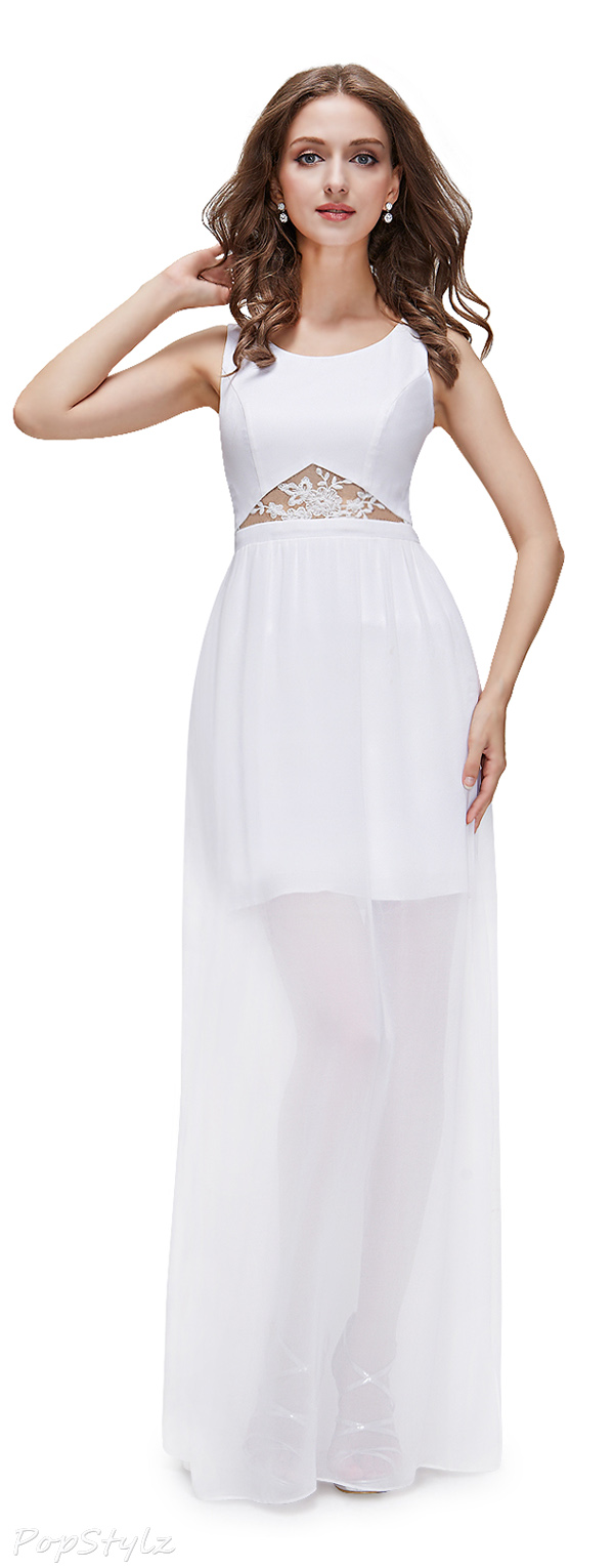 Ever Pretty 08361 Elegant Semi-Sheer Long White Party Dress