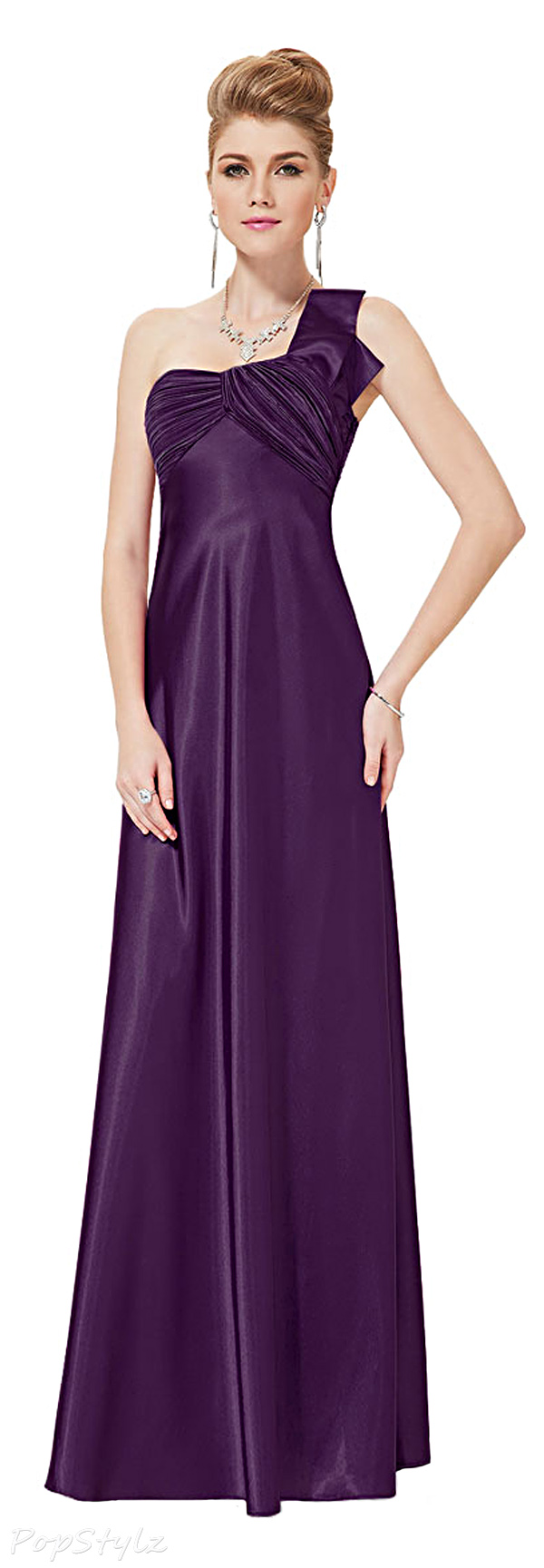Ever Pretty 09667 One Shoulder Ruched Bust Satin Gown
