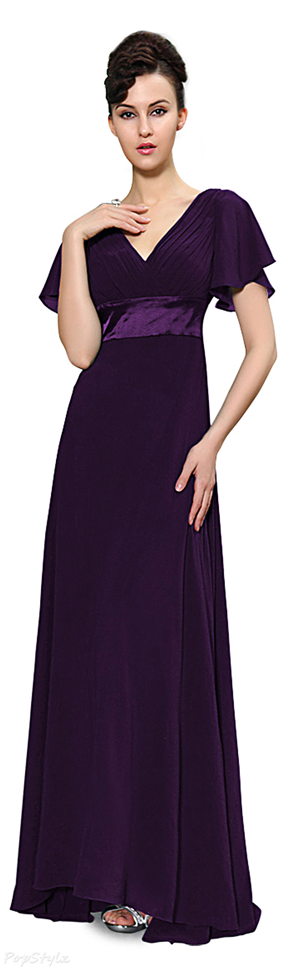 Ever Pretty 09890 Double V-Neck Flutter Sleeves Evening Dress