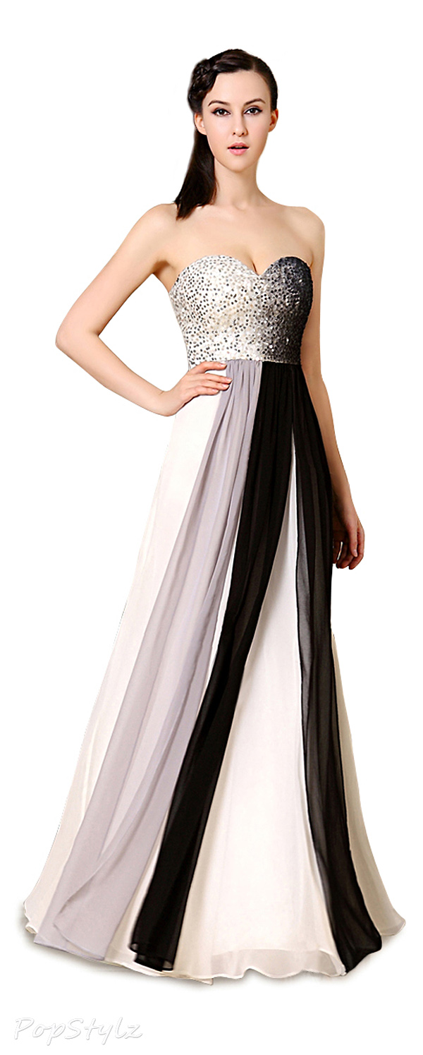 Ever Pretty 09958 Strapless Sequined Bust Ombre Evening Gown