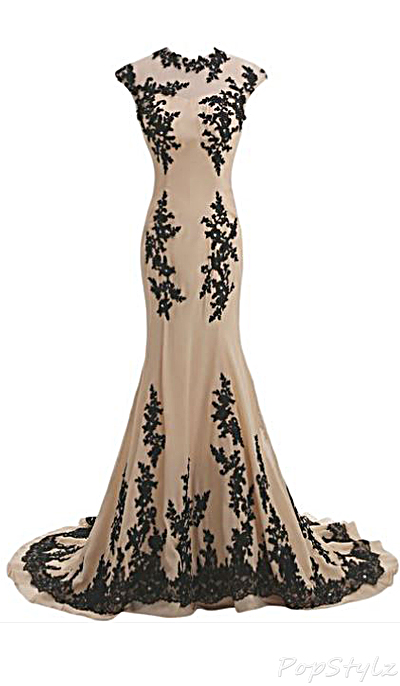 Sunvary Champagne & Black Chiffon Mermaid Gown