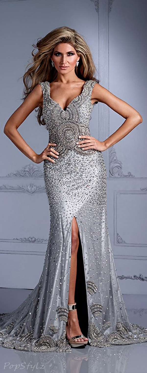 Terani Couture Gl2317 Silver Evening Gown